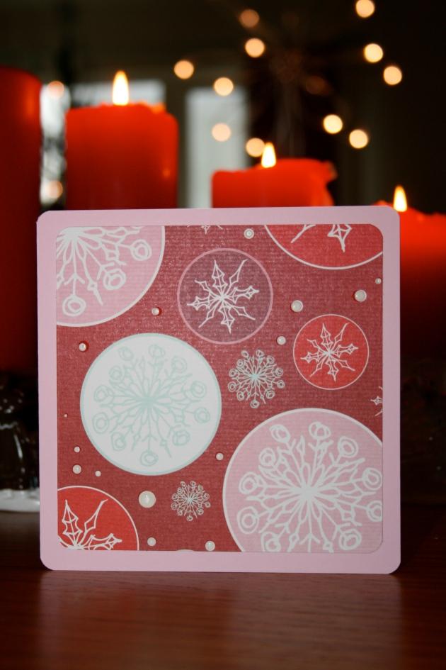Julkort 2013 - rosa kort med snöflingor o stickles